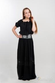 Платье длинное Юность 1504 черное в горошек