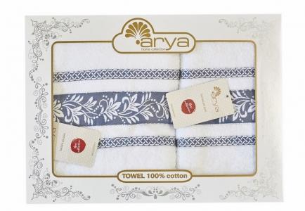 Набор махровых полотенец из 2 шт ТМ Arya жаккард Auden синий