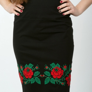 Юбка с вышивкой Полтавская Роза 1601 черная