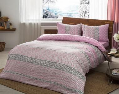 Постельное белье ТМ TAC фланель Betsy Pink евро-размер