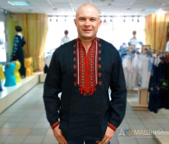 Вышиванка мужская Гетьман черная с красной вышивкой 2005.1