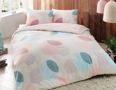 Постельное белье ТМ TAC фланель Bella Pink евро-размер