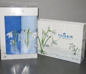 Набор полотенец из хлопка ТМ Yagmur Подснежник синий