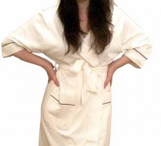 Халат трикотажный бамбуковый ТМ Nusa кремовый женский (NS 8265)