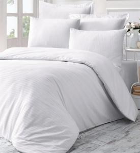 Постельное белье ТМ Victoria Sateen Stripe Line белый евро-размер