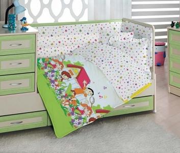 Детский постельный комплект Altinbasak сатин Happy kids sari 100х150