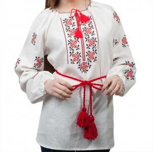 Вышиванка женская Розочки красная с черным 1010.1