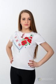 Вышитая футболка комбинированная белая 1721
