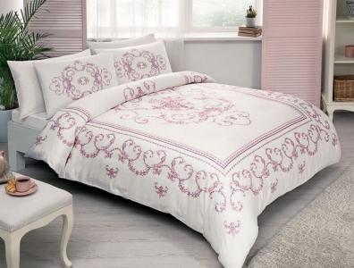 Постельное белье ТМ TAC сатин Dora Pink евро-размер