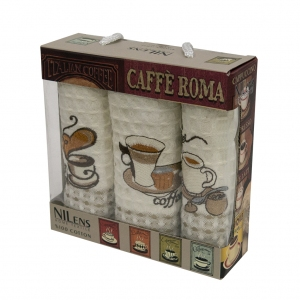 Набор полотенец кухонных ТМ Nilteks Caffe Roma 3 3шт 35х50см