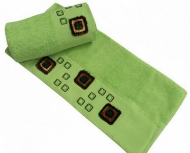 Полотенце с вышивкой ТМ Altinbasak Delux Bulvetti зеленое 50X90