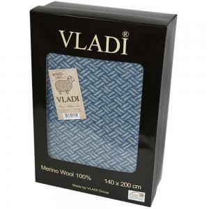 Плед шерстяной ТМ Vladi Шарм Лайт синий 140х200 см подарочная коробка