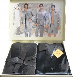 Набор атласный халат и пижама ТМ Nusa серый мужской (NS 9700-1)