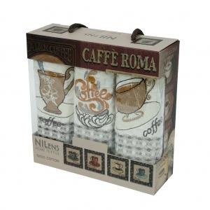 Набор полотенец кухонных ТМ Nilteks Caffe Roma 1 3шт 35х50см
