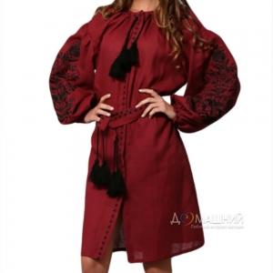Платье Дерево жизни 1525 бордовый лен с черной вышивкой