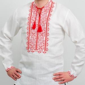 Вышиванка мужская белая с красной вышивкой 2004.1