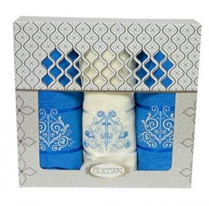 Набор полотенец из хлопка ТМ Gulcan 3 шт Cotton Venz голубой