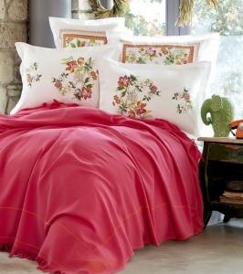 Постельное белье с пледом ТМ Karaca Home Siena Fusya евро-размер