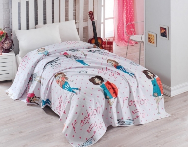 Подростковое постельное бельё Пике с покрывалом ТМ Eponj Home ранфорс Fashion Girl Pembe