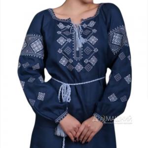 Платье Окошко 1521 синее длинный рукав