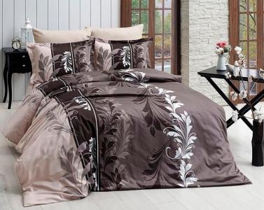 Постельное белье ТМ First Choice сатин-люкс Eylul kahve евро-размер