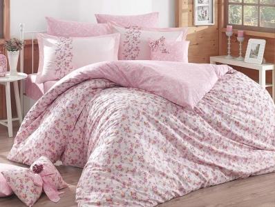 Постельное белье ТМ Hobby Poplin Luisa розовое евро-размер