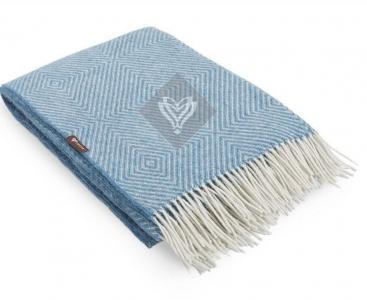 Плед шерстяной ТМ Идея Wool Lille голубой 140х200