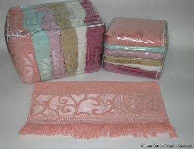 Набор полотенец из 6 штук ТМ Gulcan Sacakli Delux Cotton Sarmasik