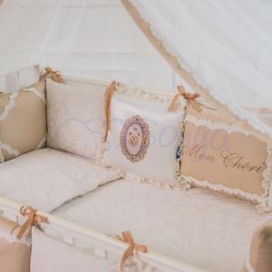 Бортик в кроватку с простыней ТМ Маленькая Соня Mon Cheri кофейный