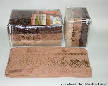 Набор полотенец из 6 штук ТМ Cestepe MicroCotton Delux Orient brown