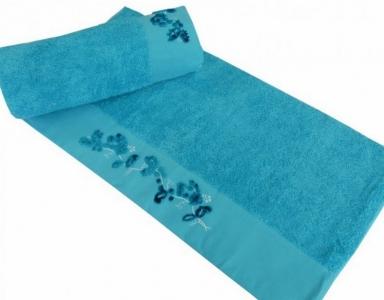 Полотенце с вышивкой ТМ Altinbasak Delux Elara голубое 70х140