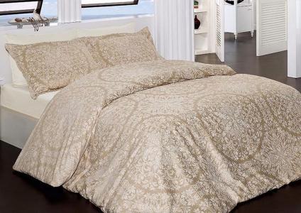 Постельное белье ТМ First Choice сатин-люкс Vanessa camel евро-размер