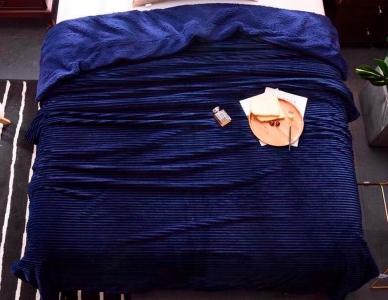Плед-покрывало меховое ТМ Love you Полоска синий 200х220