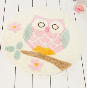Коврик прорезиненный для ванной ТМ Chilai Home Owl Ecru 90х90