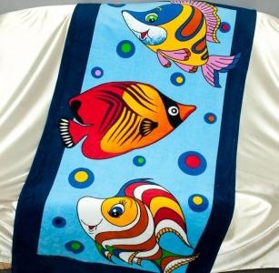 Полотенце велюровое пляжное Турция Рыбки 75х150 см