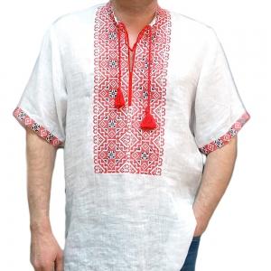 Вышиванка мужская короткий рукав белая с красной вышивкой 2001