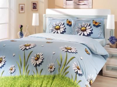Постельное белье Altinbasak Eleganza Daisy mavi евро-размер