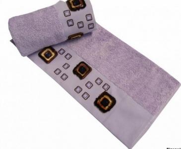 Полотенце с вышивкой ТМ Altinbasak Delux Bulvetti лиловое 50X90