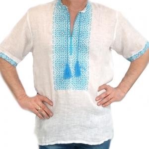 Вышиванка мужская короткий рукав белая с синей вышивкой 2001