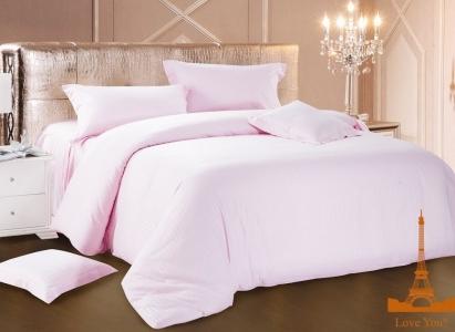 Постельное бельё ТМ Love You страйп-сатин светло-розовый евро-размер
