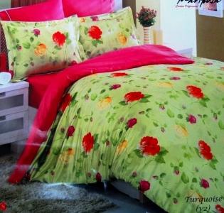 Постельное белье ТМ Mariposa шелк бамбук сатин Turquaz green евро-размер