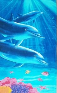 Полотенце велюровое пляжное Турция Дельфины 75х150