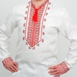 Вышиванка мужская Гетьман белая с красной вышивкой 2005.1