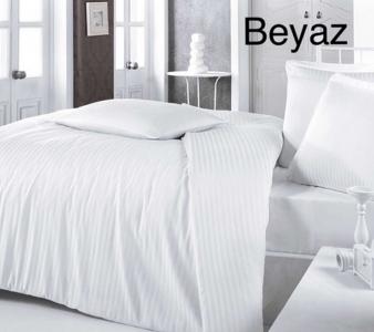 Постельное белье ТМ Altinbasak сатин жаккард однотонный Beyaz евро-размер