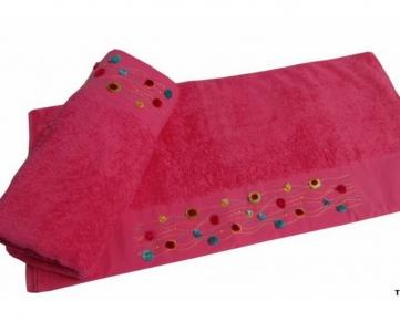 Полотенце с вышивкой ТМ Altinbasak Delux Emma розовое 70х140