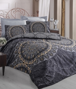 Постельное белье ТМ Cotton Box Royal Saten Elenor Siayh евро-размер