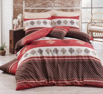 Постельное бельё ТМ Eponj Home ранфорс Mirla Bordo евро-размер