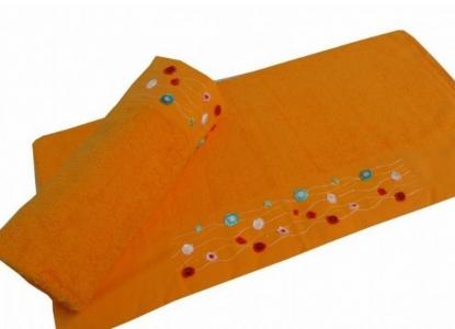 Полотенце с вышивкой ТМ Altinbasak Delux Emma оранжевое 70х140