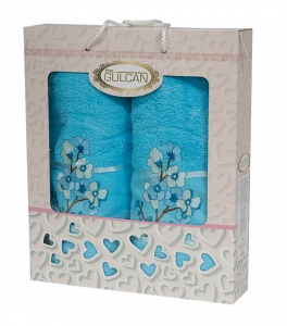 Набор полотенец из хлопка ТМ Gulcan 2 шт Cotton Flowers Turquoise