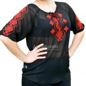 Вышиванка женская шифон черная с красным 1022